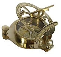 """4.5"""" Sundial Compass With Teak Wood Box Inlaid With Solid Brass"""