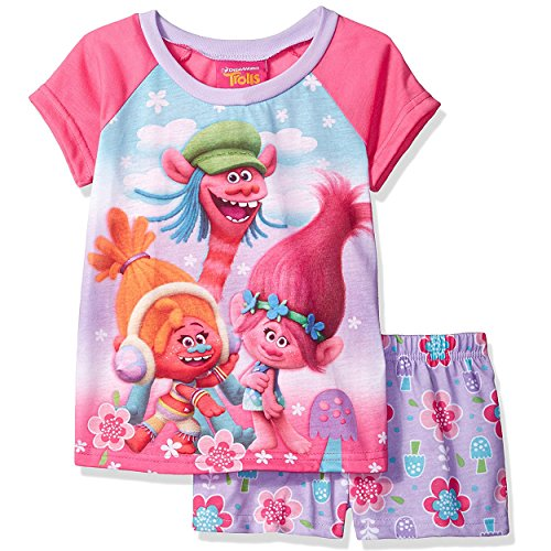 Trolls Girls Shorts Pajamas (Little Kid/Big Kid) (6, Trolls Pink/Purple)