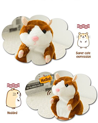 Qooka Mimicking Hamster Interactive Toys Funny Talking Hamsters - Electronic Plush Animal Toy, Repeat After You (Brown)