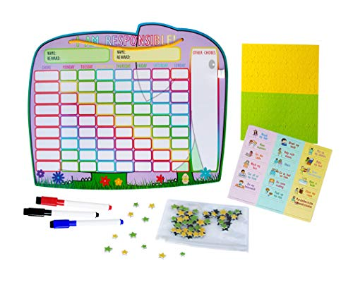 Yoyboko Chore Reward Chart for Multiple Children with Magnetic Backing, 3x Dry Erase Marker and Storage Bag | Ele-Fun Responsibility Star Chart | 41.4 x 34cm     - Board Bag Daily