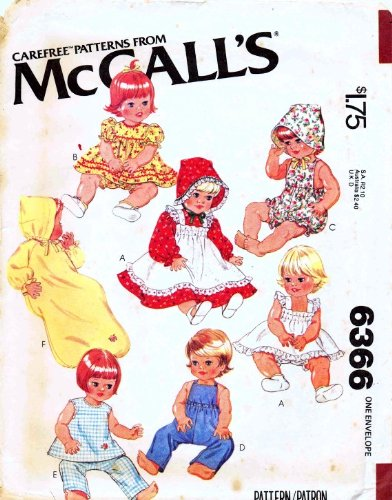 McCall's Pattern 6366 Wardrobe for 15 1/2 and 17-Inch Baby Dolls (Vintage Company Wardrobe)
