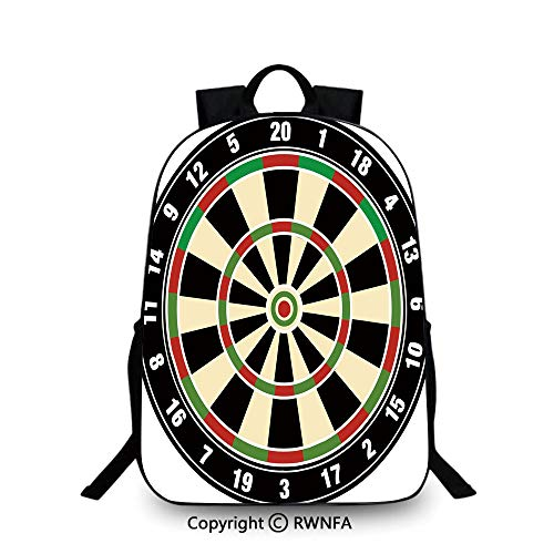Backpack for Kids,Dart Board Numbers Sports Accuracy Precision Target Leisure Time Graphic School Backpacks For boys Vermilion Green Black