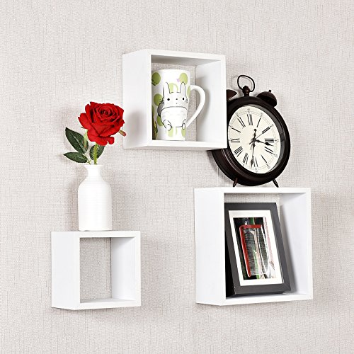 WELLAND Victorian Tri Wall Shelves Cube Displaying Shelf Set of 3,6 inch,8 inch and 10 inch, (Victorian Wall Storage)