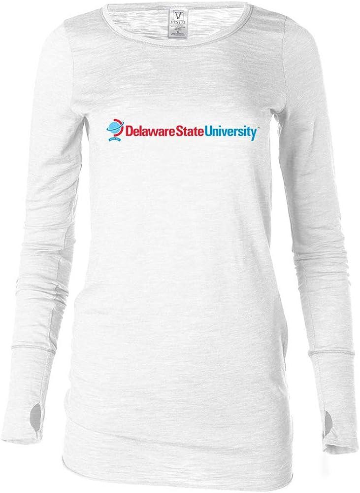Venley Official NCAA Delaware State Hornets PPDEU05 Womens Long Sleeve Thumbhole Tee