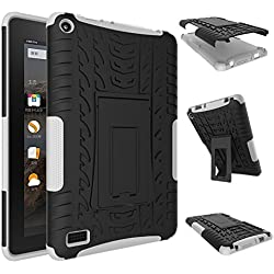 Fire 7 2015 Case, Amazon Fire 7 Case, NOKEA Hybrid Heavy Duty Armor Protection Cover [Anti Slip] [Built-In Kickstand] Skin Case For Amazon Fire 7 5th Generation 2015 Release Tablet (White)
