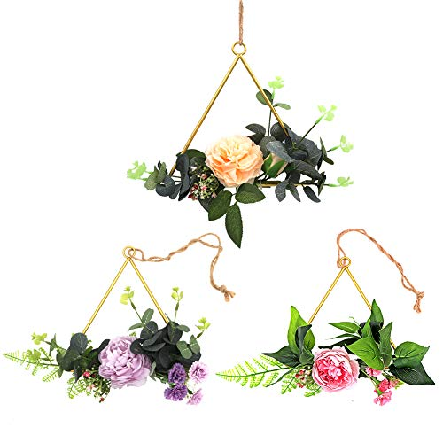 LSME Flower Hoop Wreath Set of 3 Peony Metal Ring Frame for Nursery Hanging Elegant Home Decor