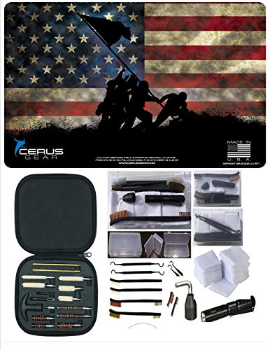 Flag Battle Square (EDOG Iwo Jima Iconic Historical CERUS Gear Honoring Battle of Iwo Jima Marine Flag Raising Promat with Range Warrior Universal 27 PC Field and Bench Cleaning Essentials Kit)