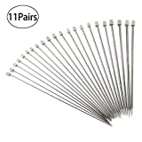 PIXNOR Knitting Needles 11 Pairs - Stainless Steel, Straight, 14'' in Sizes 2mm to 8mm