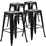 Bar Stool Outdoor 4 Pk. 30'' High Backless Black Metal Indoor-Outdoor Barstool with Square Seat