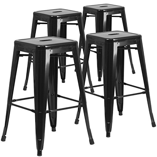 4 Pk. 30'' High Backless Black Metal Indoor-Outdoor Barstool with Square Seat