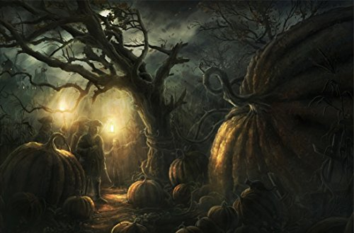 Wind Male Golden Pumpkin Lantern Old Trees in Dark Forest Painting Halloween Wall Art