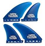 PACIFIC VIBRATIONS Futures Controllers Surfboard fins 4 Quad fin Set Fiberglass Color Blue