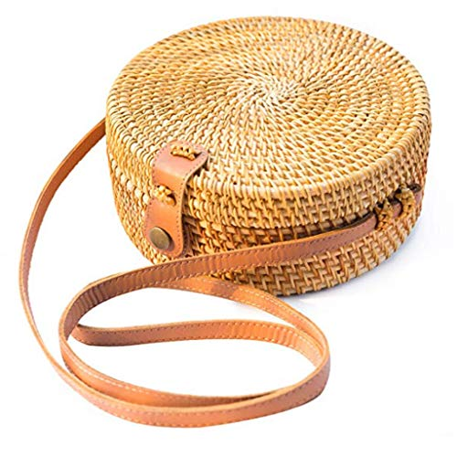 Crossbody Shoulder Bag,AfterSoCircle Handwoven Bali Round Retro Rattan Straw Beach Bag Crossbody (Yellow) (Bags Rattan Bali)