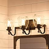 """high end bathroom vanities Luxury Crystal Bathroom Vanity Light, Medium Size: 7.5""""H x 23""""W, with French Country Style Elements, Olde Bronze Finish and Clear Water Shade, UHP2033 from The Ravenna Collection by Urban Ambiance"""