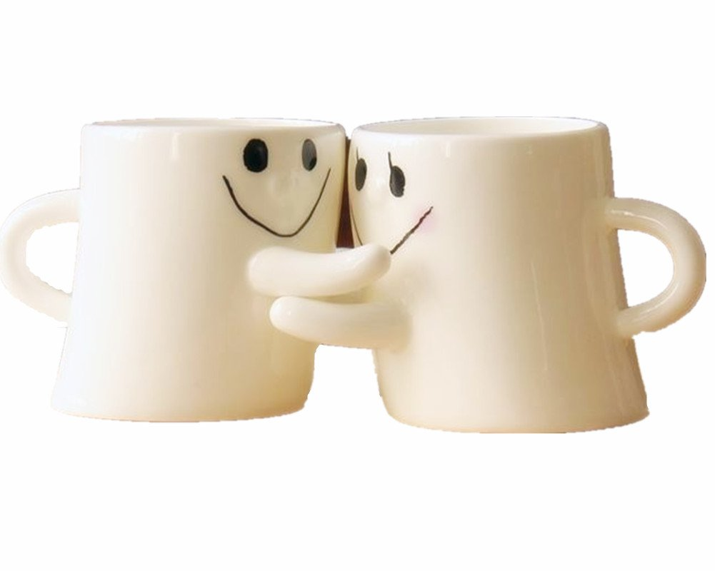 Lovely Cute Little Hug Couples Coffee Tea Cup Milk Ceramic Mug Birthday Valentine's Day Best Gift (Set of 2) (White) Emoyi EMY0280CS