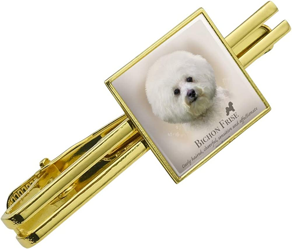 Graphics and More Bichon Frise Dog Breed Square Tie Bar Clip Clasp Tack Gold Color