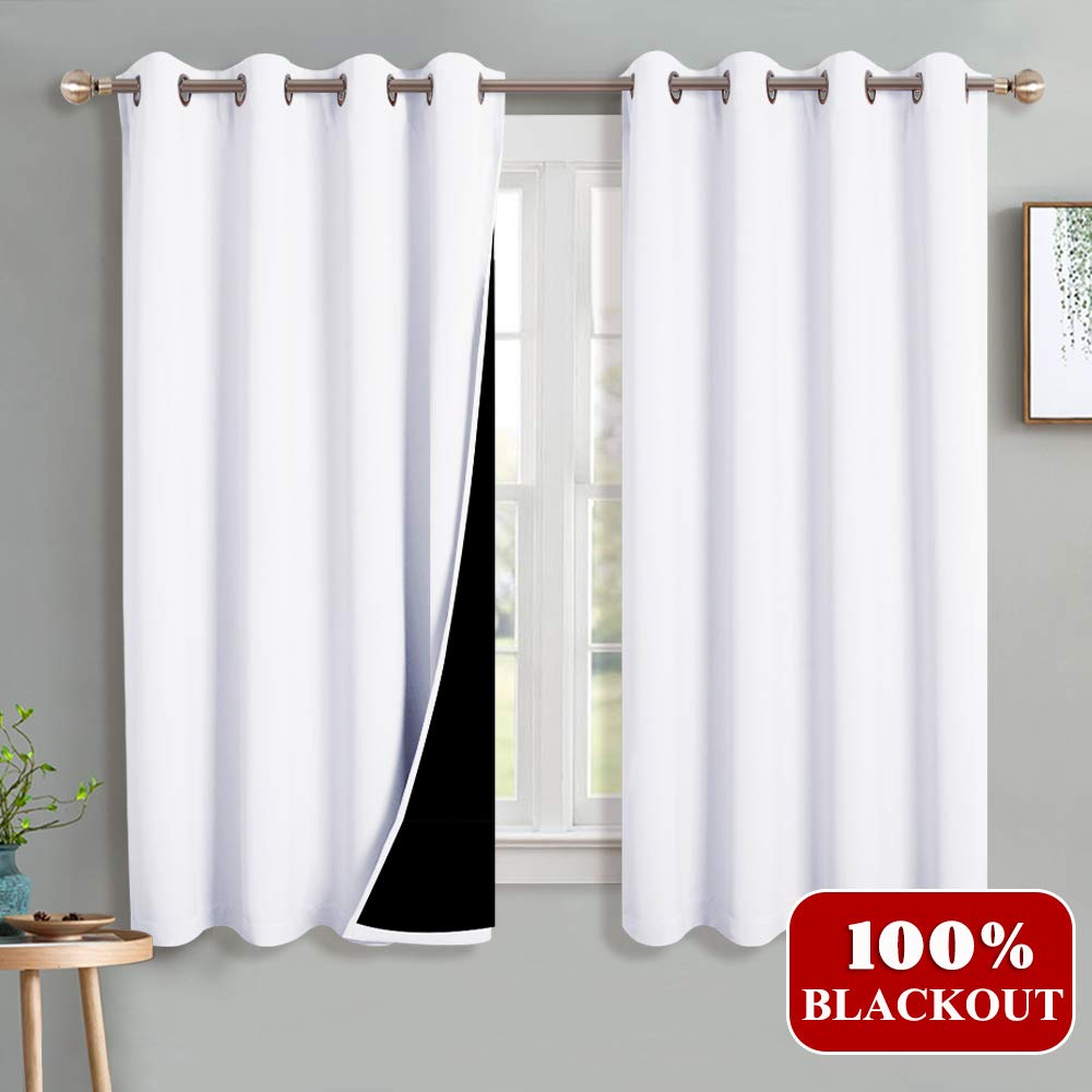 PONY DANCE Blackout White Curtains - Home Decoration Total Blackout Drapes Thermal Window White Curtain Panels 2 Layer with Black Liner Protect for Bedroom, 52'' x 63'', Pure White, Set of 2