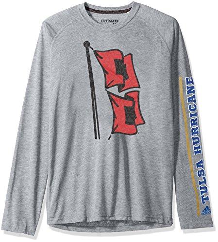 adidas NCAA Tulsa Golden Hurricane Adult Men Sleeve Play Ultimate L/S Tee, X-Large, Medium Grey Heather