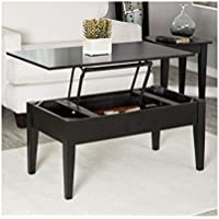 Lift Top Occasional Cocktail Table with Storage and 2 End Tables in Black, 40 inches, Coffee Table Set, Living Room Furniture, Set of 3