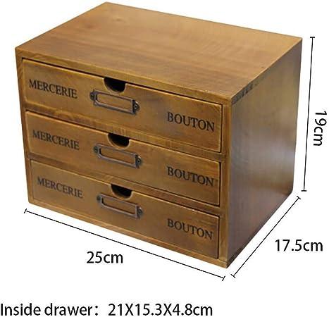 Maritown Organizador de escritorio de madera con 3 cajones, caja de almacenamiento de madera, archivador de madera, cajones extraíbles, suministros de oficina, color original: Amazon.es: Bricolaje y herramientas