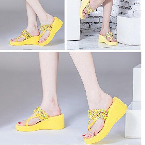 Talons À Extérieure Toe Hauts Mode Été Mer Femme Talons Sandales Slope Épais Chaussures Clip Jaune Le Pantoufles Usure w10qSpOA