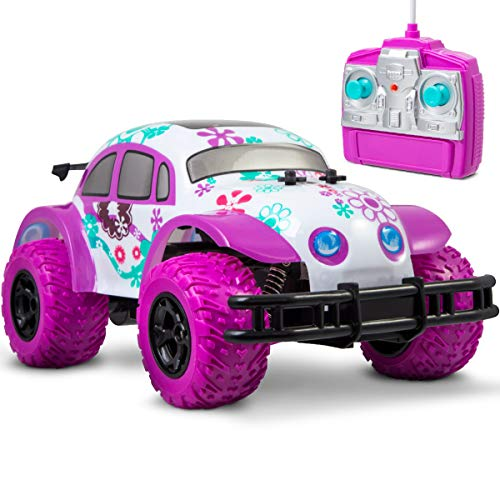 (SHARPER IMAGE Pixie Cruiser Pink and Purple RC Remote Control Car Toy for Girls with Off-Road Grip Tires; Princess Style Big Buggy Crawler w/ Flowers Design and Shocks, Race Up to 5 MPH, Ages 6 Year +)