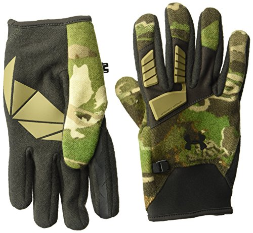 Under Armour Men's Speed Freek Wool Gloves, Ridge Reaper Camo Forest (943)/Black, Large