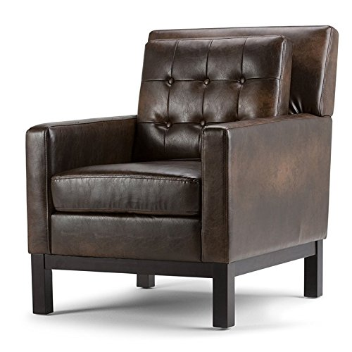 Simpli Home Carrigan Club Chair, Distressed Brown