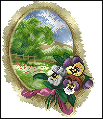 Zamtac Needlework 11CT 14CT Cross Stitch, DIY Count Cross Stitch, Embroidery Set, Pansy Round Landscape - (Cross Stitch Fabric CT Number: 14CT unprinted) (Count Cross Stitch Pansy)