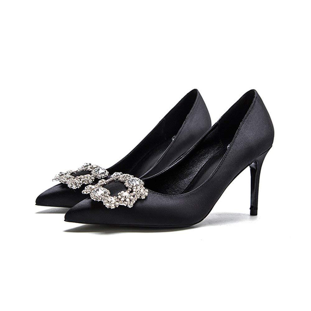 Willsego Schuhe 8cm Schwarz Braut, High Heels, Feiner Absatz Flacher Mund Satin Strass Quadrat Schnalle Single (Farbe   schwarz8cm, Größe   33 EU)