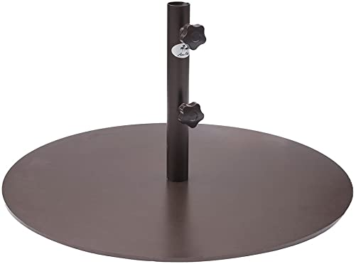 Abba Patio 55 lb Patio Umbrella Base Heavy Duty Round 28 inch Diameter Steel Outdoor Market Umbrella Base Stand for Deck, Lawn, Garden, Pool, Brown