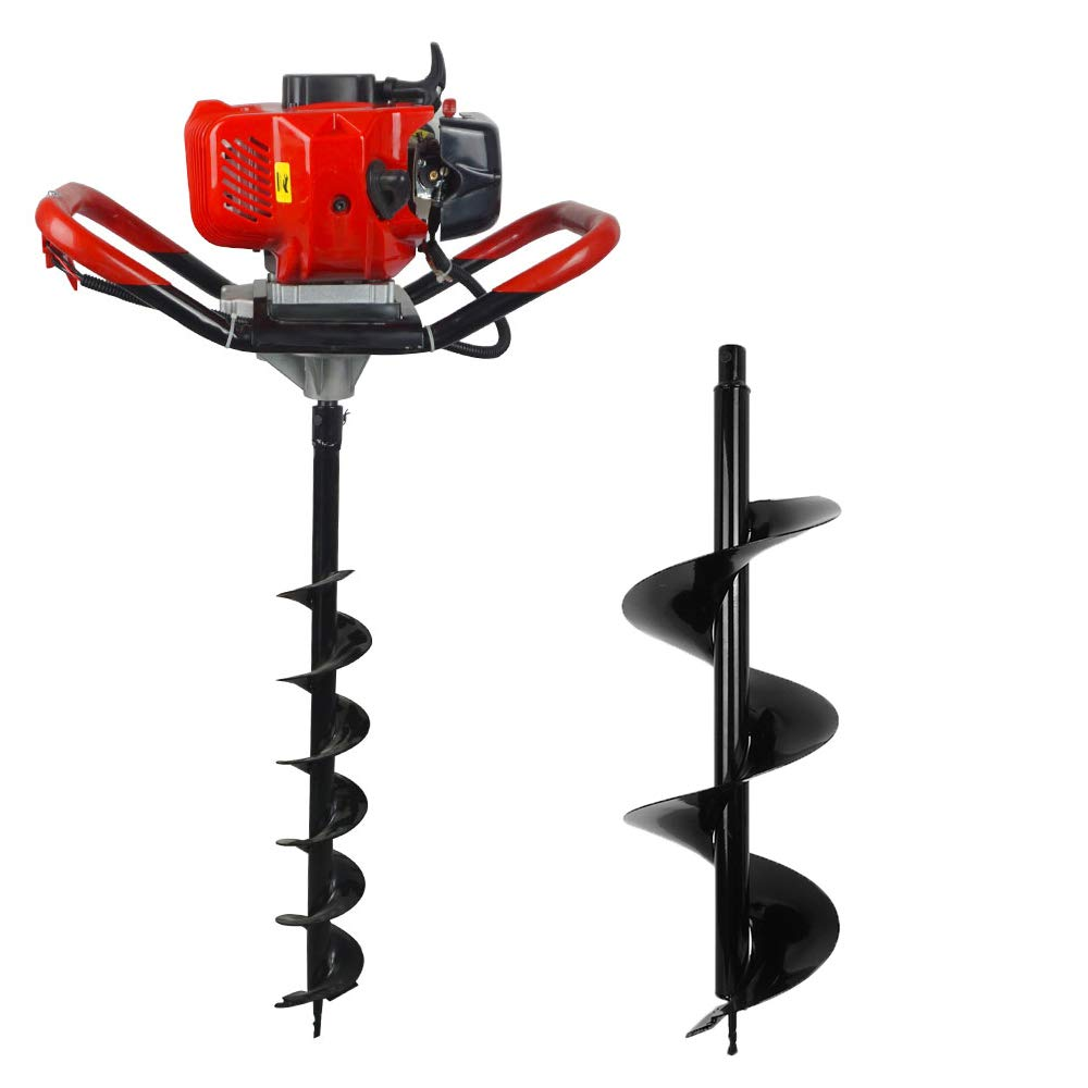 yiyusheng Post Hole Auger 52CC Two Stroke 2.5HP Gas Powered Post Hole Digger Auger 6' + 10' Earth Auger Drill Bits Digging Machine Garden Tools
