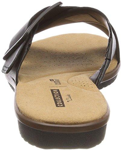Compensées Sandales Heather black Noir Leather Femme Clarks Kele E6Pat
