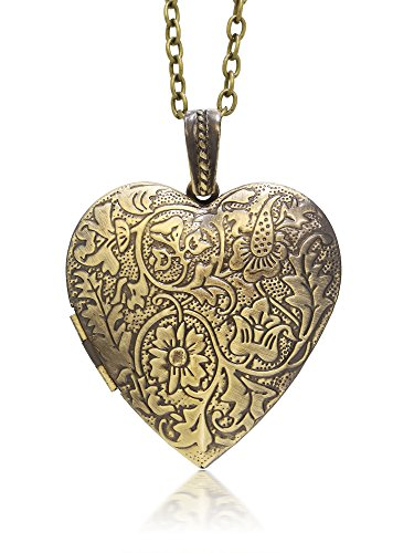 - Gem Stone King Locket Pendant Necklace Charm 1.5 Inch Engraved Flowers Heart with 28 Inch Chain