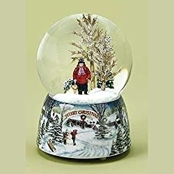 """Merry Christmas Snowy Woodland Scene Music Snow Globe Glitterdome - 5.5"""" Tall 100MM - Plays Tune Over the River and Through the Woods"""