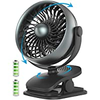 Gazeled Battery Operated Fan with Aroma Diffuser, Small USB Clip on & Desk Fan with 4400mAh Rechargeable Battery, 4 Speeds, 720° Rotation for Baby Stroller, Car, Traveling, Camping, Home, Office