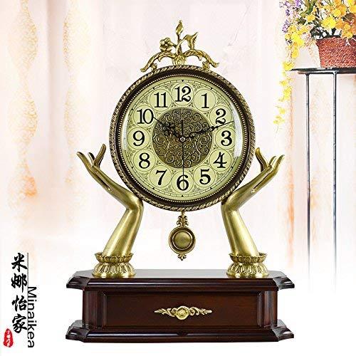Jundonglilai コンチネンタルブラスクイーンサイズスタイリッシュでモダンなリビングルームの装飾のアイデアクロッククロックミュートロッククォーツ時計 (Color : 6056 s)  6056 s B07RFCGSCQ