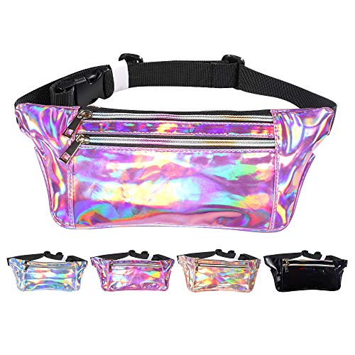 - iAbler Holographic Fanny Pack for Women and Men Metallic 80s Shiny Fanny Packs with Adjustable Belt Fashion Waist Bum Bag for Party, Festival, Rave, Hiking, Trip
