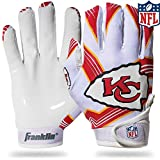 Franklin Sports Kansas City Chiefs Youth NFL Football Receiver Gloves – Receiver Gloves For Kids – NFL Team Logos and Silicone Palm – Youth M/L Pair