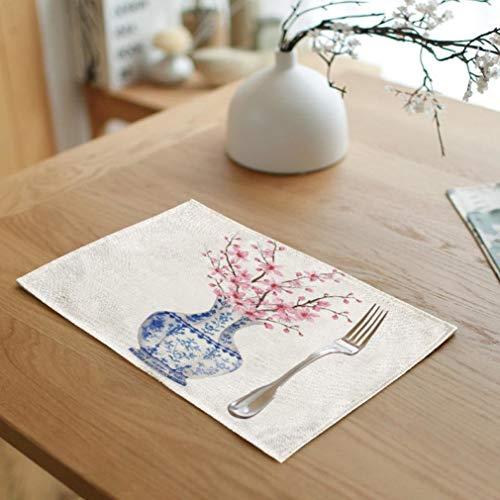 RXIN Rectangle Creative Blue and White Porcelain Vase Napkin Linen Flower Tablecloth Wedding Banquet Decor 4pcs