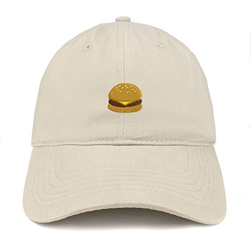 Trendy Apparel Shop Cheese Burger Emoticon Quality Embroidered Low Profile Cotton Dad Hat Cap - Stone ()