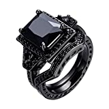 WOWJEW Vintage Style Jewelry Black Sapphire Couple Wedding Rings Cool Black Gold Filled Engage Ring Set