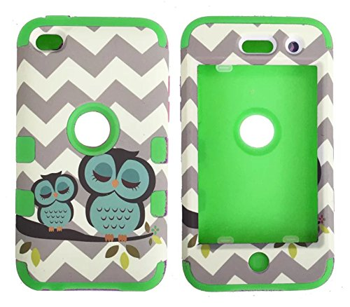 iPod Touch 4th Generation Case,Lantier 3 Layers Verge Hybrid Soft Silicone Hard Plastic TUFF Triple Impact Shockproof Quakeproof Defender Drop Resistance Protective Case Cover Waves Cheveron Owl ()