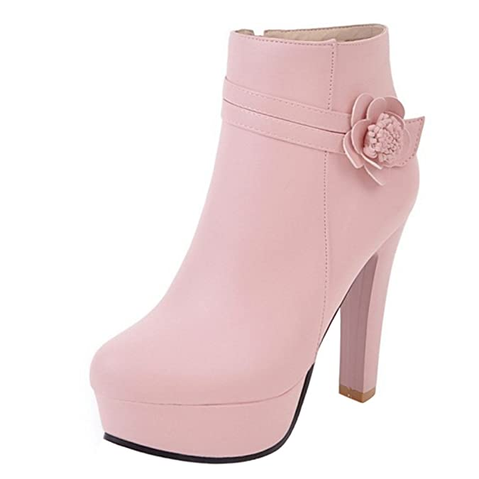 Amazon.com | AicciAizzi Women Fashion High Heel Zipper Boots with Flower | Ankle & Bootie