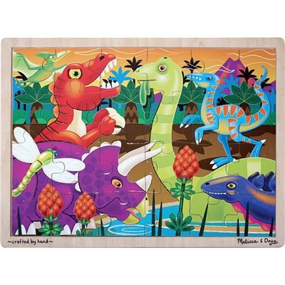 Melissa & Doug Prehistoric Dinosaurs at Sunset Wooden Jigsaw Puzzle (24 pcs) ()