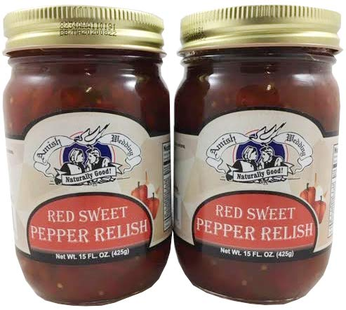 Amish Wedding Red Sweet Pepper Relish, 15 Ounce Glass Jar (Pack of ()