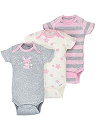 Baby Girls 3 Pack Organic Short Sleeve Onesies Brand Bodysuit