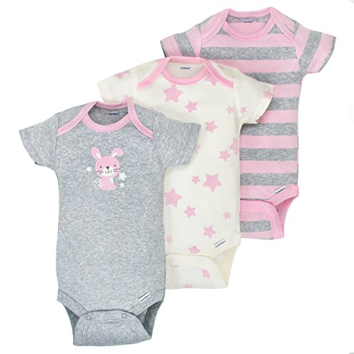 Gerber Baby Girls 3 Pack Organic Short Sleeve Onesies Brand Bodysuit, Gray/Light Pink, 3-6 Months