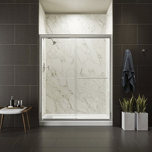 KOHLER K-702207-L-SHP Fluence 3/8-Inch Thick Glass Bypass Shower Door, Bright Polished Silver