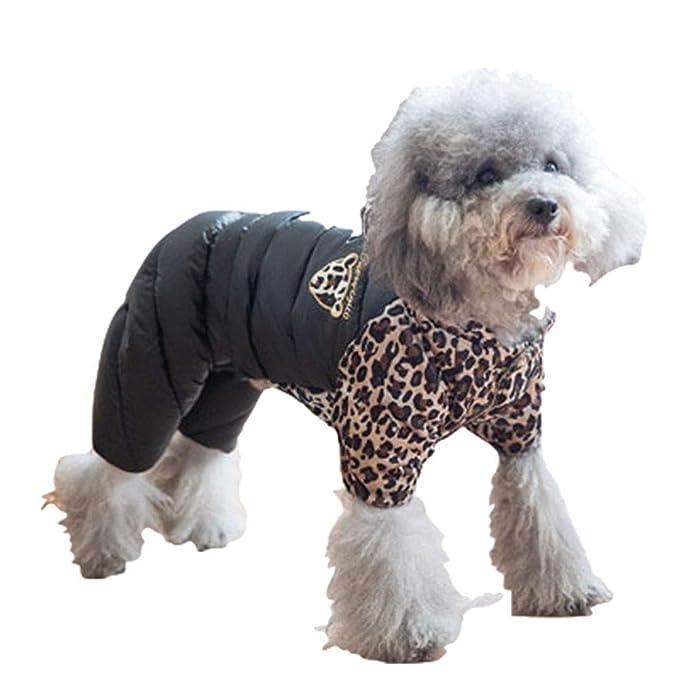 Elvoo Espesar ropa para perros abrigo cálido perro pequeño leopardo encapuchado ropa de cuatro patas ropa ...